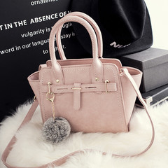 MONDAY Handbag Women's Bags PU Leather Kelly Bag with Fur Ball Decor Ladies Shoulder Bag pink 22*18*13cm