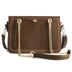 MONDAY Women's Handbag Rivet Crossbody Bag Ladies Chain Shoulder Bag with Double Straps brown 27*18*10cm