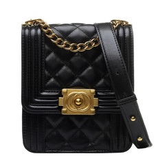 MONDAY Fashion Mini Shoulder Bag for Women Diamond Lattice Chain Bag Classical Crossbody Bag Purse black 16*18*7cm