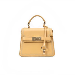 MONDAY Fashionable Women's Handbag Solid Leather Kelly Bag Ladies Purse Shoulder Bag Crossbody Bag yellow 19*16*8cm