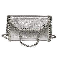 MONDAY Women's Bags Mini Crossbody Bag Ladies Chain Purse Small Shoulder Bag Envelope Clutch silver