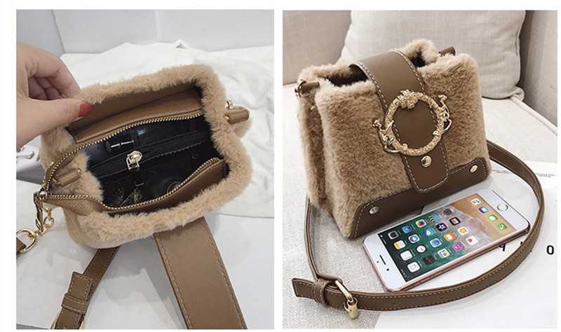 MONDAY Fur Handbag Fashion Women's Bags Hasp Ladies Shoulder Bag Small Crossbody Bucket Bag red 17*15*11cm 6