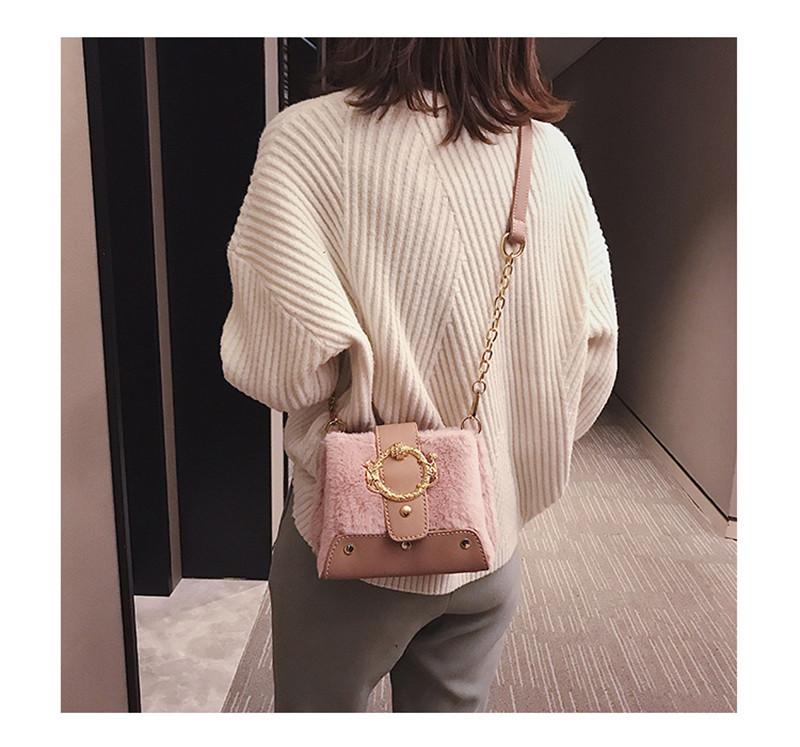 MONDAY Fur Handbag Fashion Women's Bags Hasp Ladies Shoulder Bag Small Crossbody Bucket Bag red 17*15*11cm 8