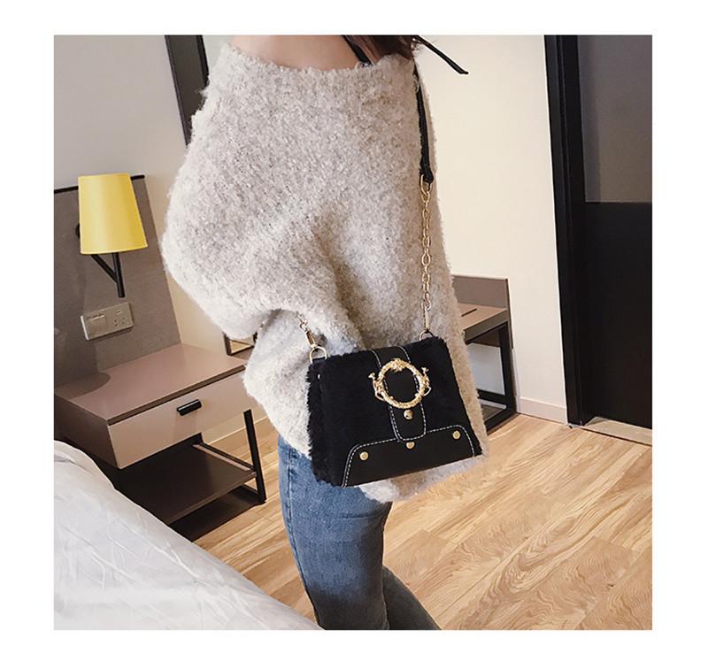 MONDAY Fur Handbag Fashion Women's Bags Hasp Ladies Shoulder Bag Small Crossbody Bucket Bag red 17*15*11cm 10