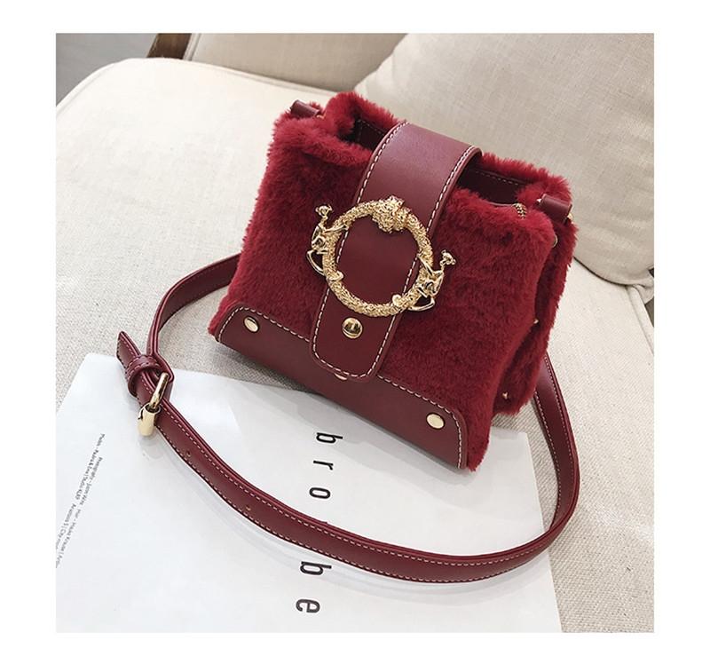 MONDAY Fur Handbag Fashion Women's Bags Hasp Ladies Shoulder Bag Small Crossbody Bucket Bag red 17*15*11cm 13