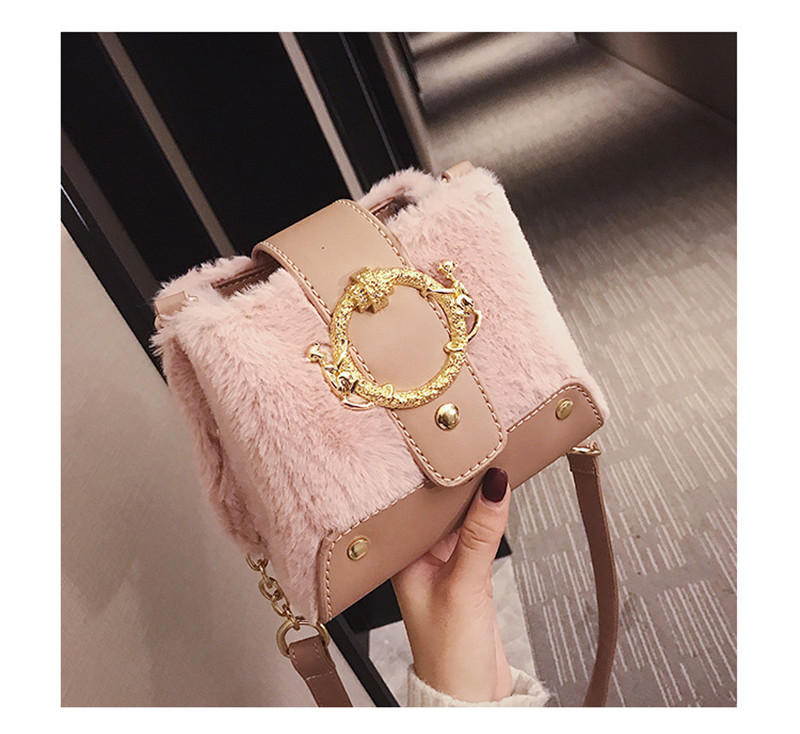 MONDAY Fur Handbag Fashion Women's Bags Hasp Ladies Shoulder Bag Small Crossbody Bucket Bag red 17*15*11cm 11