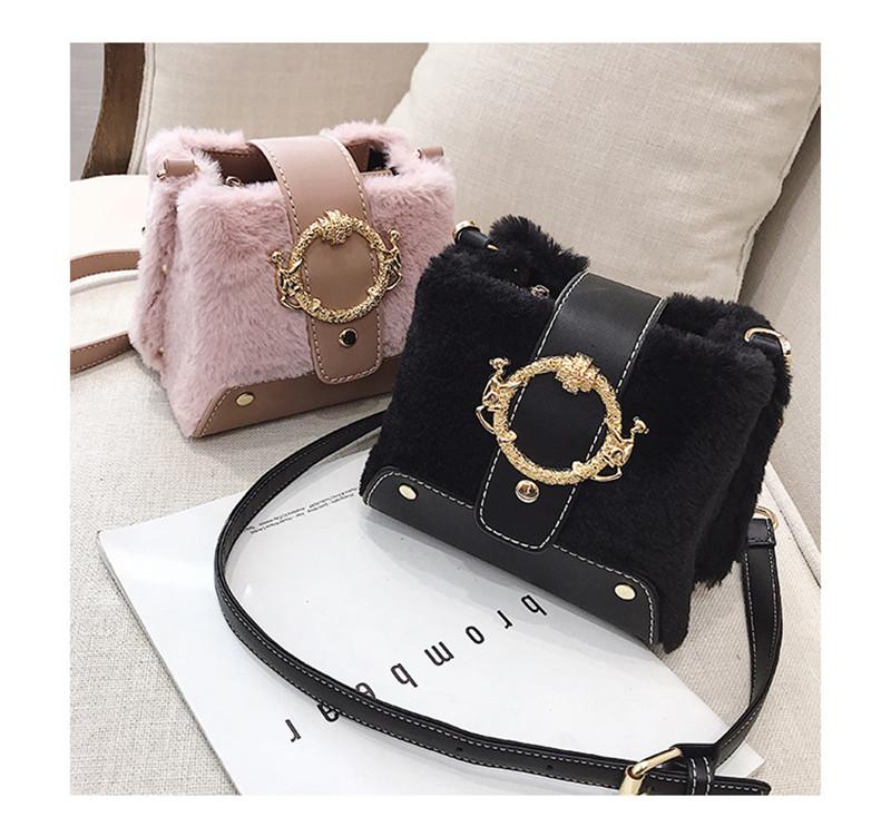 MONDAY Fur Handbag Fashion Women's Bags Hasp Ladies Shoulder Bag Small Crossbody Bucket Bag red 17*15*11cm 4