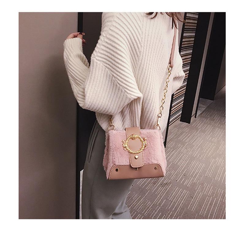 MONDAY Fur Handbag Fashion Women's Bags Hasp Ladies Shoulder Bag Small Crossbody Bucket Bag red 17*15*11cm 12