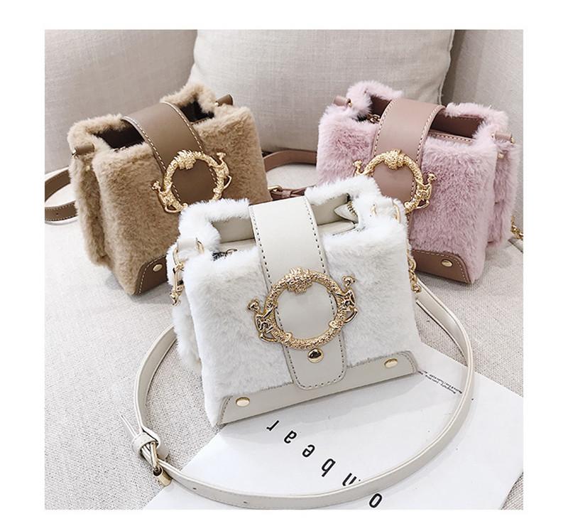 MONDAY Fur Handbag Fashion Women's Bags Hasp Ladies Shoulder Bag Small Crossbody Bucket Bag red 17*15*11cm 1