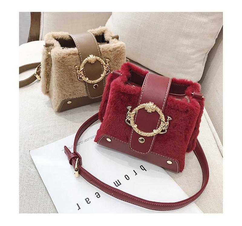 MONDAY Fur Handbag Fashion Women's Bags Hasp Ladies Shoulder Bag Small Crossbody Bucket Bag red 17*15*11cm 2