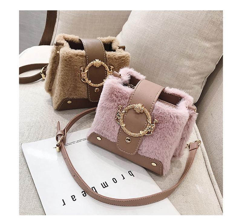 MONDAY Fur Handbag Fashion Women's Bags Hasp Ladies Shoulder Bag Small Crossbody Bucket Bag red 17*15*11cm 3
