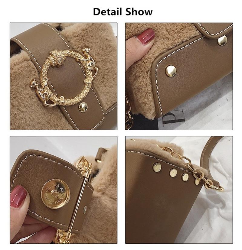 MONDAY Fur Handbag Fashion Women's Bags Hasp Ladies Shoulder Bag Small Crossbody Bucket Bag red 17*15*11cm 5