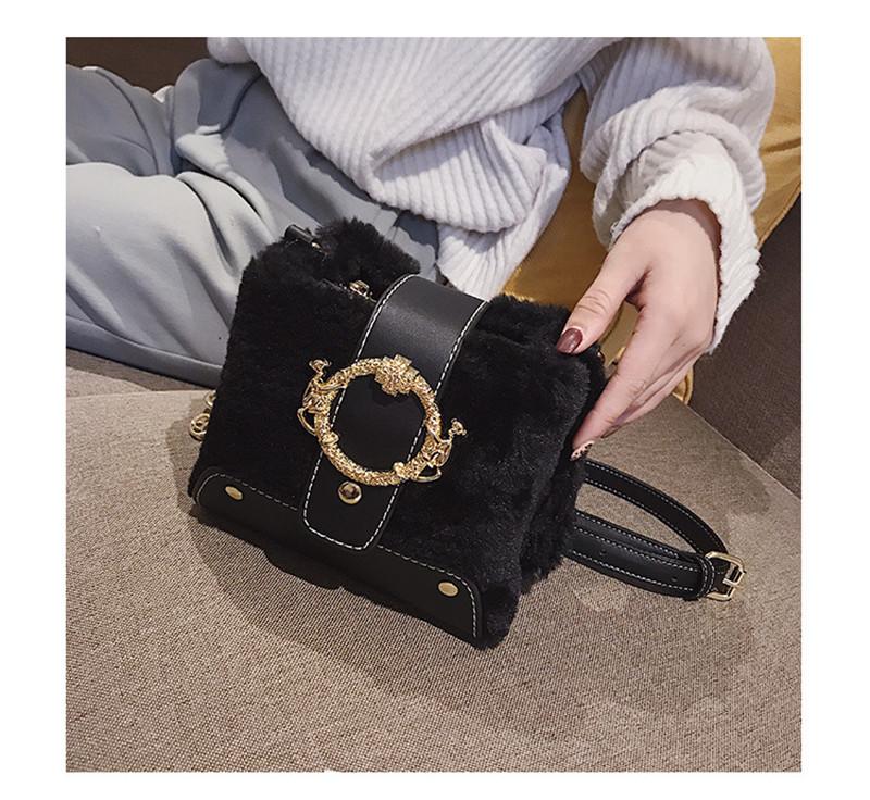 MONDAY Fur Handbag Fashion Women's Bags Hasp Ladies Shoulder Bag Small Crossbody Bucket Bag red 17*15*11cm 9