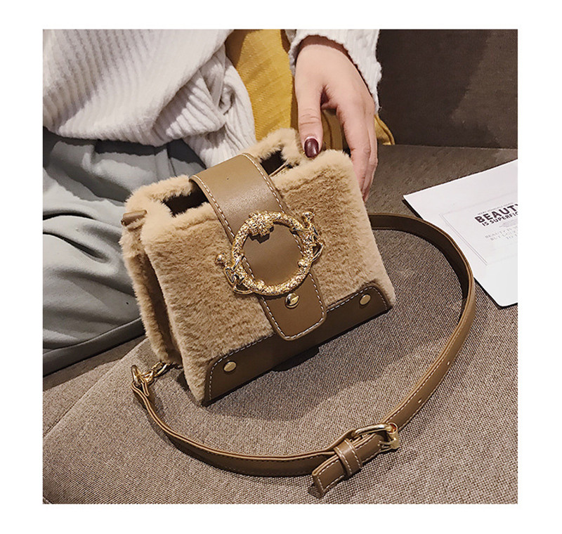 MONDAY Fur Handbag Fashion Women's Bags Hasp Ladies Shoulder Bag Small Crossbody Bucket Bag red 17*15*11cm 7
