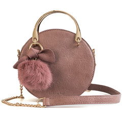 MONDAY Retro Small Round Handbag Women's Bags Shoulder Bag Fur Ball Chain Bag Ladies Crossbody Bag pink 19*18*7cm
