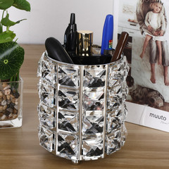 MONDAY 2Pcs Crystal Makeup Brush Holder Plated Metal Desk Organizer Pen Holder Wedding Party Decor silver diamond 9*11cm