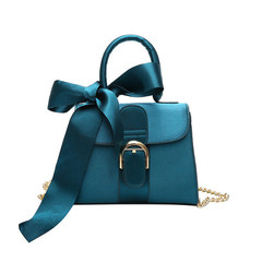 MONDAY Silk Bowknot Handbag Solid PU Leather Women's Bags Ladies Shoulder Crossbody Bag Tote Bag blue 22*17*9cm