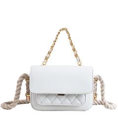 MONDAY Classical Small Square Bag Women's Handbag with String Rope Strap Plaid Women's Bag white 19.5*14*6cm