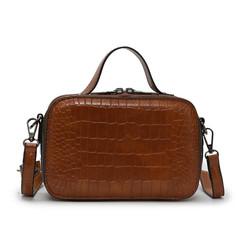 MONDAY Small Sqaure Handbag Varnish Women's Leather Bag Crossbody Bag Ladies Shoulder Bag brown 21.5*14*7.5cm