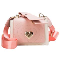 MONDAY Women's Handbag Valentine's Day Gift for Girl Friend Ladies Shoulder Bag with Heart  Hasp pink 19*14*8cm