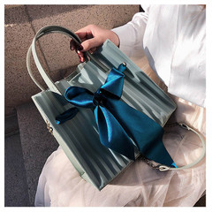 MONDAY Bowknot Jelly Bag Women's Bags Sweet Bucket Bag Fashion Ladies Handbag green 26*22*11cm