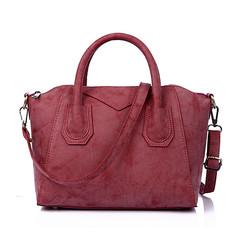 MONDAY Women's Tote Bag Ladies Large Handbag Matte PU Leather Bag Solid Shoulder Bag rose red 27*20*16cm
