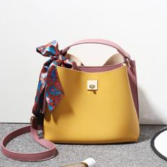 MONDAY Women's Bucket Bag Hasp Shoulder Bag Soft Leather Handbag for Ladies yellow 25*12*20cm