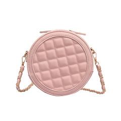 MONDAY Round Shoulder Bag Mini Chain Leather Bag Women's Bag Ladies Crossbody Bag Cute pink 18*18*8cm
