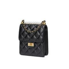 Lady Leather Bag Diamond Lattice Pearl Chain Shoulder Messenger Bags Women Mini Purse and Handbag black 17.5*15*5cm