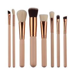 MONDAY 8Pcs Makeup Brush Set Foundation Powder Eyebrow Blush Brush Soft Hair Cosmetics Beauty Tools 8pcs/set beige