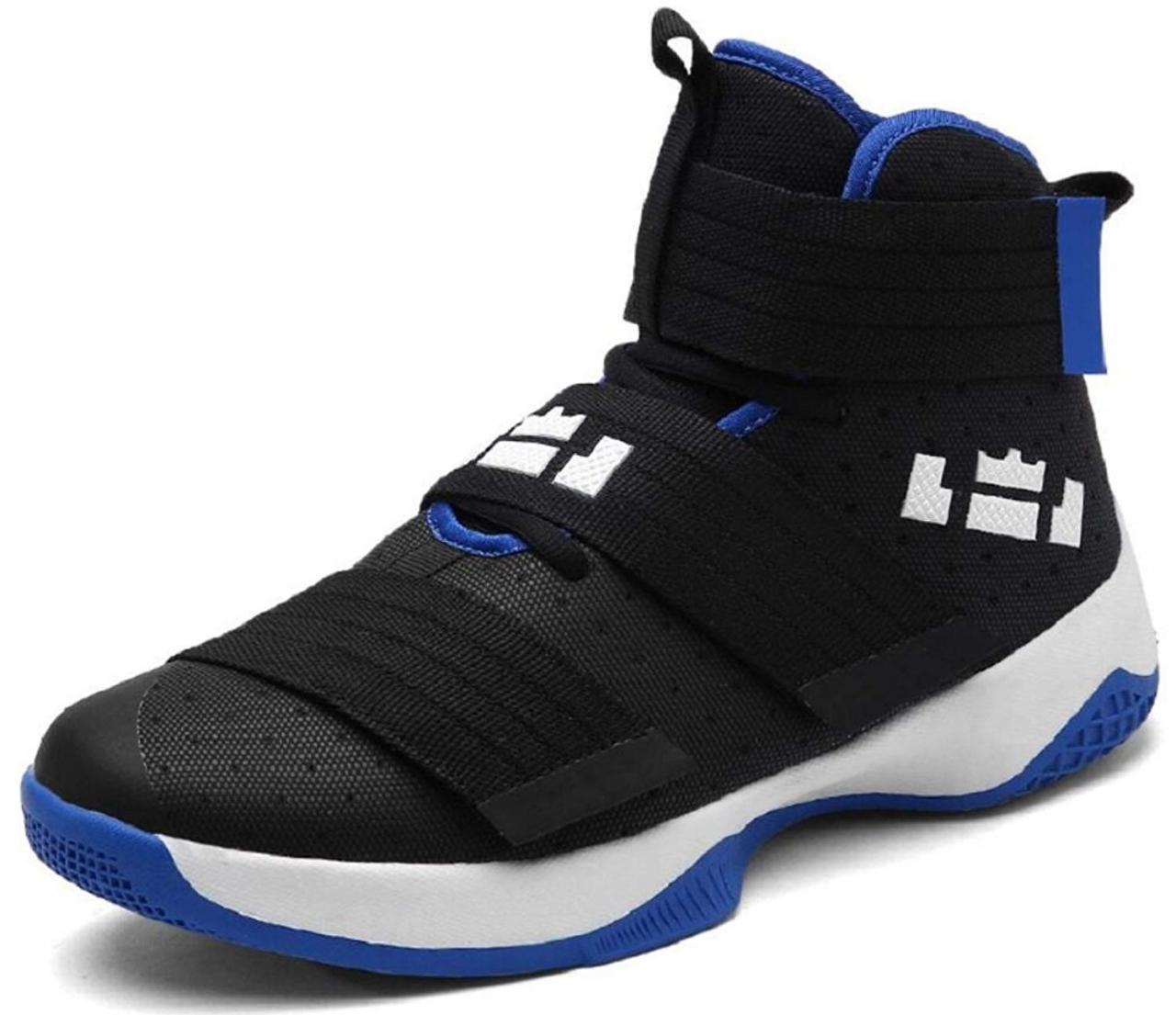 4237b69186709 Gagigakac Men's Basketball Shoes for Women's Performance Sports Velcro  Sneakers by Black Blue 39