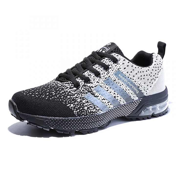 de7df53d8 Men's Breathable Knit Athletic Shoes Solf Lightweight Running Sneskers  Outdoor Workout Gym Tennis black white 38