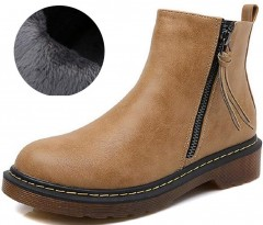 Gagigakac Women's Shoes Leather Zipper Elastic Band Low Heel Ankle Boots