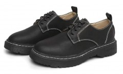 Gagigakac Women's Dress Oxford Shoes Leather Lace up Heel Ankle Shoes by Black 35