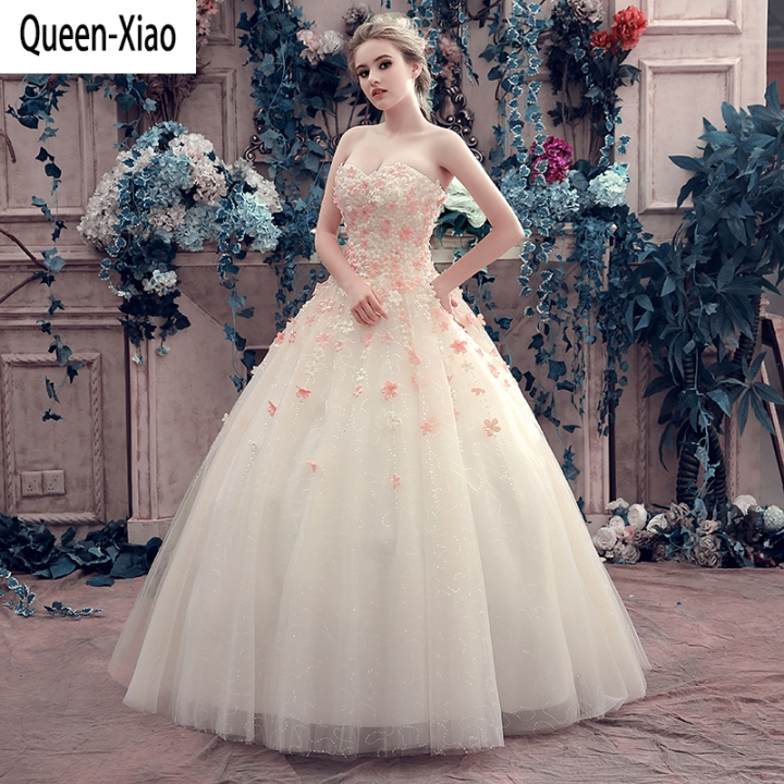 Queen Xiao 2018 Fl Champagne Princess Dress Wedding European American Style Banquet