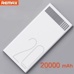 Remax 20000mAh Dual USB Power Bank with LED Indicator Portable External Battery 5V 2.4A Quick Charge White 20000