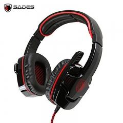 SADES SA-901 Gaming Headphones USB Plug 7.1 Surround Stereo Deep Bass Game Headset Earphone with Mic red