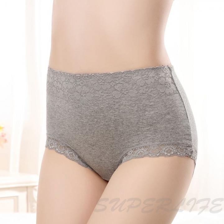 c9462322dd8b1 4Pcs women s lingerie lace triangle high-waist pure cotton sexy underwear 8  colors ladies briefs