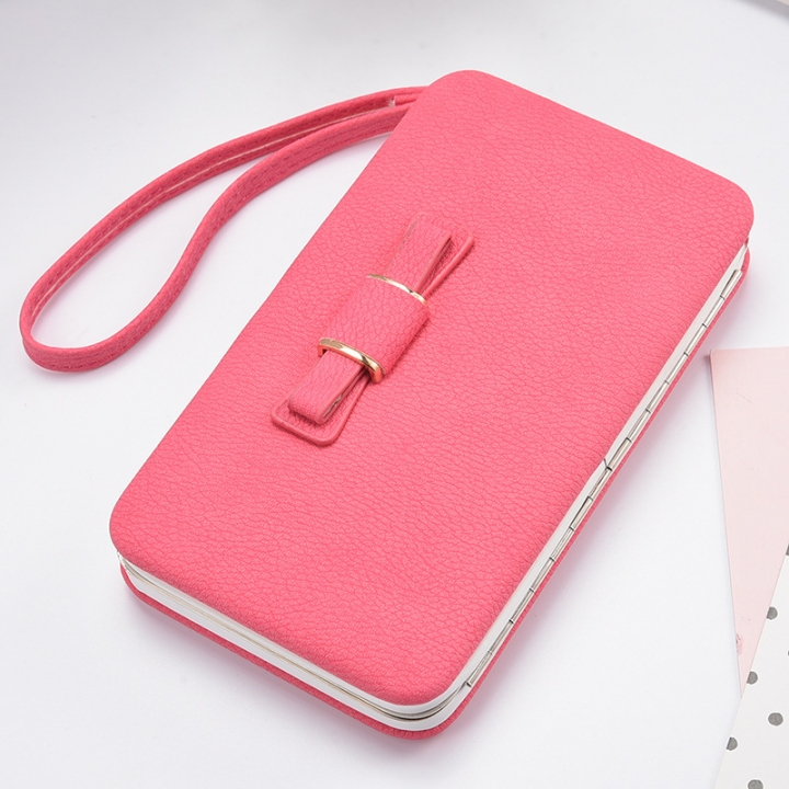 Women Bowknot Wallet Long Purse Phone Card Holder Clutch Large Capacity Pocket rose red one size
