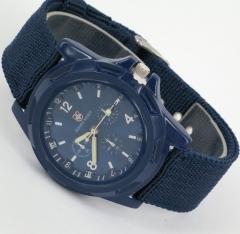 Fashion Swiss woven military watch with Gemius blue as picture