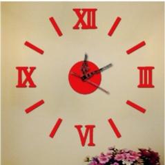 Acrylic DIY fashion wall clock mirror wall sticker clock Roman scale mute red one size