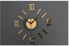 Acrylic DIY fashion wall clock mirror wall sticker clock Roman scale mute Gold one size