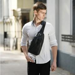 Men's bag  waterproof Oxford cloth single shoulder bag student chest bag distribution  messenger bag black one size