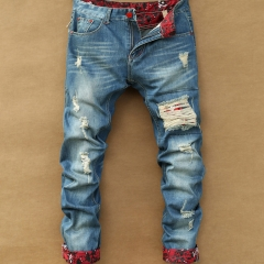 Japanese upside-down patch mendicant youth spring and summer leisure hole retro men's jeans Light blue 28