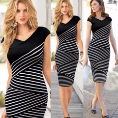 Black and white striped summer dress pencil skirt S black