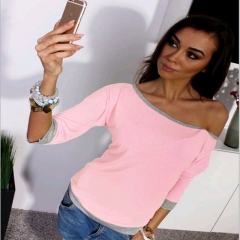 Fashion Women 3/4 Sleeve Shirt Casual Pullover Blouse Loose T Shirt pink S