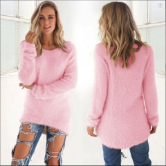 Fashion Women Casual Tops Mohair Blend Fuzzy Blouse Pullover Jumper Loose Sweater Knitwear pink s