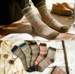 Autumn winter new double road retro rabbit wool socks men upscale comfortable national style Color random one size 39-44