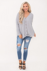 Ladies stylish and sexy V - collared loose button tie knot solid color blouse long sleeve blouse grey s