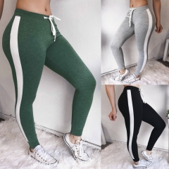 Women fashion sexy and comfortable features stitching sports pants grey m